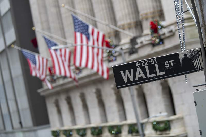 FILE - In this Jan. 3, 2020 file photo, the Wall St. street sign is framed by American flags flying outside the New York Stock Exchange in New York.  Stocks are starting the new month on a weak note on Wall Street, a day after notching their biggest monthly gains since April. The S&P 500 was waffling between small gains and losses in the early going Tuesday, Sept. 1,  while gains for Apple and other tech stocks pushed the Nasdaq higher.  (AP Photo/Mary Altaffer, File)