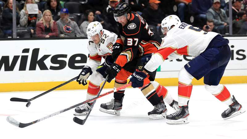 MacKenzie Weegar and Aaron Ekblad of the Florida Panthers defend against Nick Ritchie of the Anaheim Ducks at Honda Center on February 19, 2020.