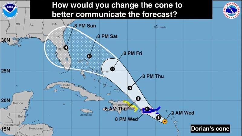 Hurricane forecast cone