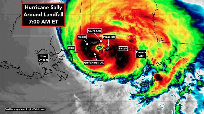 Sept. 16 satellite image of Hurricane Sally.