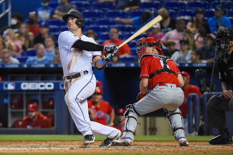 Nick Fortes of the Miami Marlins hits a home run during the fourth inning against the Philadelphia Phillies at loanDepot park on October 03, 2021 in Miami, Florida.