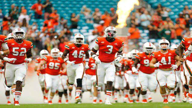 The Miami Hurricanes take the field before the game against the Pittsburgh Panthers at Hard Rock Stadium on Nov. 24, 2018, in Miami Gardens, Florida.
