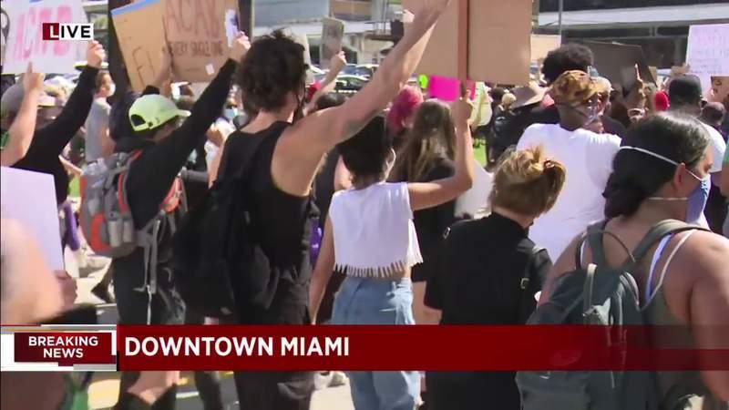 Pop star couple Camila Cabello and Shawn Mendes take part in Miami protest