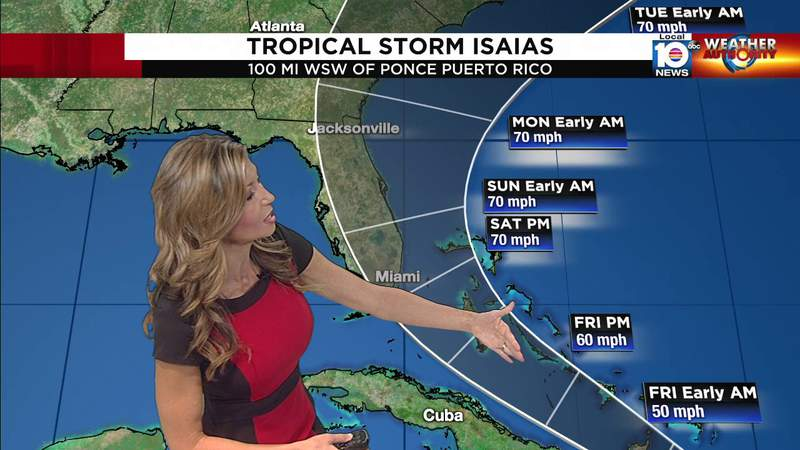 Tropical Storm Isaias, Thursday morning forecast.