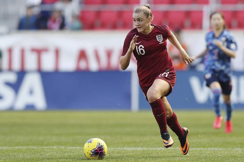 """FILE - in this file photo dated Sunday, March 8, 2020, England midfielder Georgia Stanway in action against Japan, during a SheBelieves Cup soccer match in Harrison, USA. Stanway says were pushing to try to make it the best league in the world"""" as the curtain-raising Community Shield pits defending champion Chelsea against Manchester City on Saturday Aug. 29, 2020, at Wembley Stadium. (AP Photo/Steve Luciano, FILE)"""