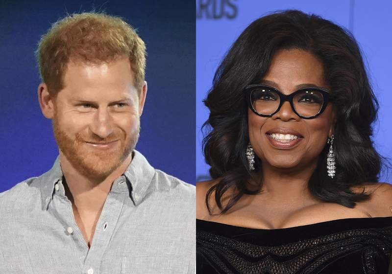 """Prince Harry, Duke of Sussex speaks at """"Vax Live: The Concert to Reunite the World"""" in Inglewood, Calif. on May 2, 2021, left, and  Oprah Winfrey appears at the 75th annual Golden Globe Awards in Beverly Hills, Calif. on Jan. 7, 2018. Winfrey and Prince Harry are teaming up for a series that will delve into mental health issues and feature segments from athletes and stars like Lady Gaga and Glenn Close. The streaming service Apple TV+ plus announced Monday that the multi-part documentary series The Me You Cant See will debut on May 21. (AP Photo)"""