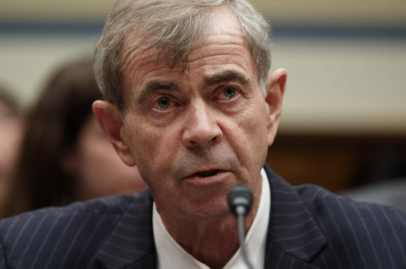 """FILE - Massachusetts Secretary of the Commonwealth Bill Galvin testifies on Capitol Hill in Washington, Wednesday, May 22, 2019. Regulators in Massachusetts claim Robinhood Financial targets and manipulates inexperienced investors and has failed to prevent costly outages on its popular stock trading platform. In an administrative complaint filed Wednesday, Dec. 16, 2020 by Galvin, the state alleges that Robinhood violated securities laws by aggressively marketing itself to Massachusetts investors without regard for the best interest of its customers,"""" while also failing to maintain a properly working platform as its number of users exploded.  (AP Photo/Carolyn Kaster, file)"""