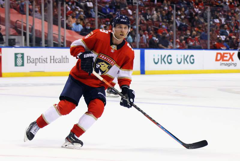 Sam Bennett of the Florida Panthers skates against the Tampa Bay Lightning in Game One of the First Round of the 2021 Stanley Cup Playoffs at the BB&T Center on May 16, 2021 in Sunrise, Florida.