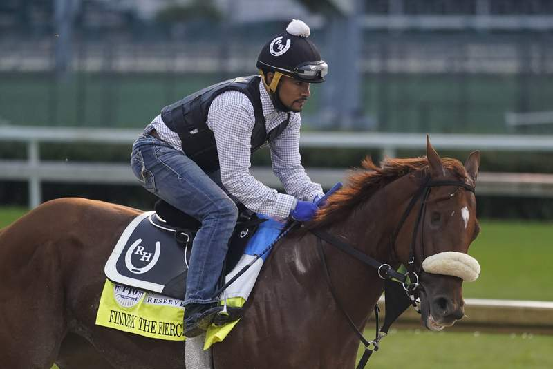 Kentucky Derby entry Finnick the Fierce runs during a workout at Churchill Downs, Wednesday, Sept. 2, 2020, in Louisville, Ky. The 146th running of the Kentucky Derby is scheduled for Saturday, Sept. 5th. (AP Photo/Darron Cummings)