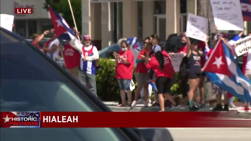 SOS Cuba protesters gather at busy intersection before march in Hialeah
