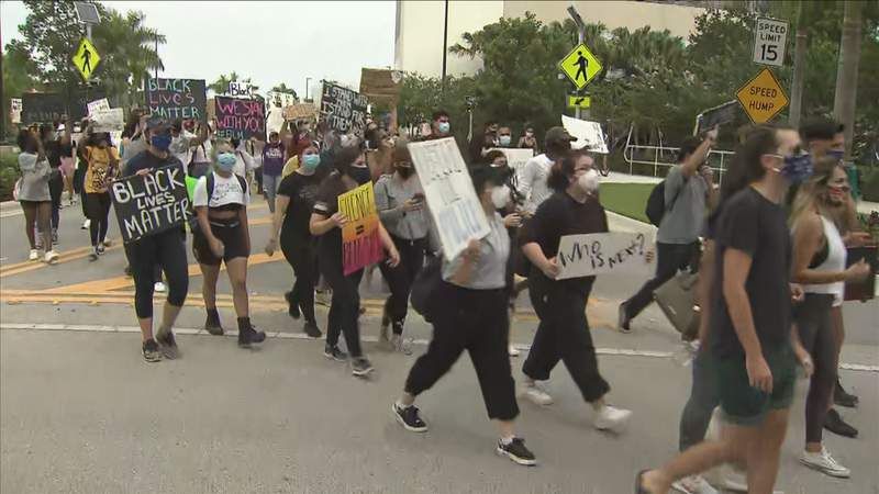 Black Lives Matter protesters marched on Saturday at Florida International University in Miami-Dade County.