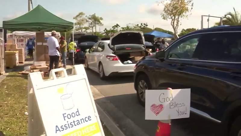 Long lines at Florida City food giveaway