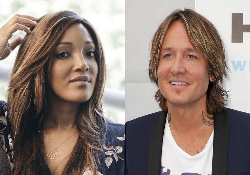 In this Aug. 3, 2020 photo, Mickey Guyton is photographed during a remote portrait session in Los Angeles on Aug. 3, 2020, left, and Keith Urban appears at the 13th Annual ACM Honors in Nashville, Tenn. on August 21, 2019. Guyton and Urban will host the Academy of Country Music Awards in April. (AP Photo)