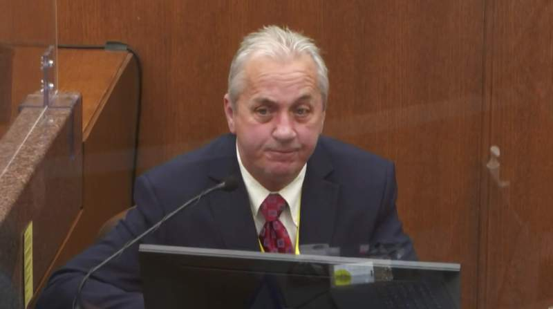 In this image from video, witness Lt. Richard Zimmerman of the Minneapolis Police Department David Pleoger, testifies as Hennepin County Judge Peter Cahill presides Friday, April 2, 2021, in the trial of former Minneapolis police Officer Derek Chauvin at the Hennepin County Courthouse in Minneapolis, Minn. Chauvin is charged in the May 25, 2020 death of George Floyd. (Court TV via AP, Pool)