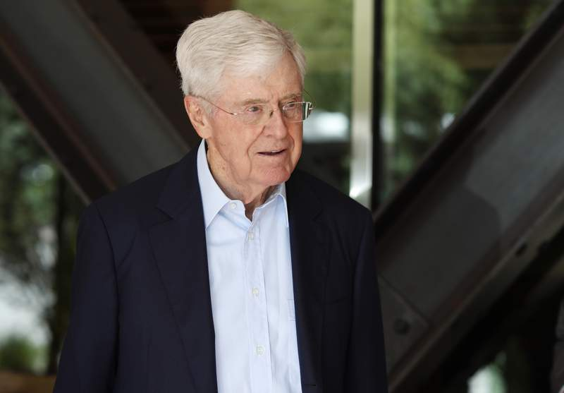 FILE - In this June 29, 2019, file photo, Charles Koch, chief executive officer of Koch Industries, is shown at The Broadmoor Resort in Colorado Springs, Colo. As conservative political groups mobilize to ban what they call critical race theory in schools, one prominent backer of Republican causes and candidates is notably absent. Leaders in the network built by the billionaire Koch family say they oppose government bans and efforts to recall school board members over teaching about race and history in schools.(AP Photo/David Zalubowski, File)