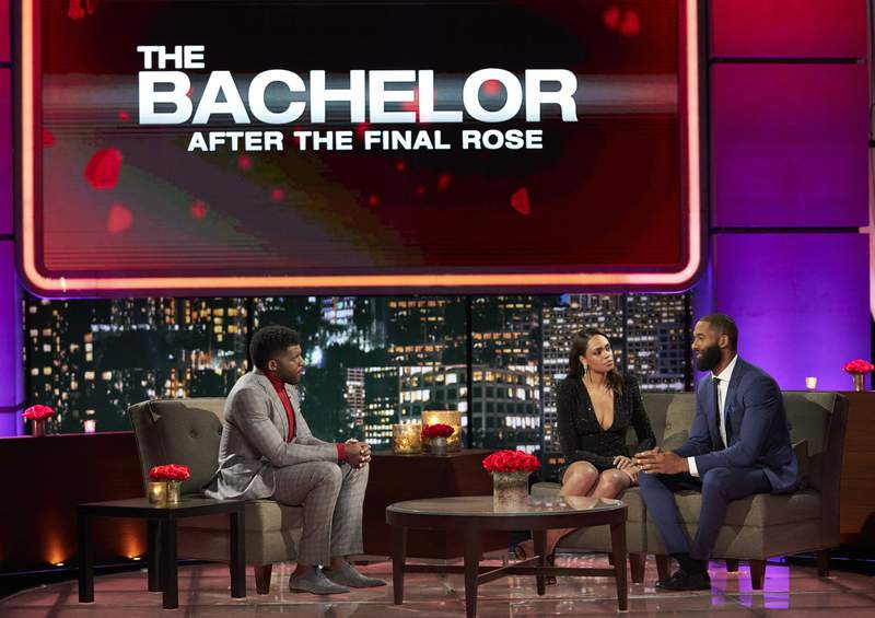 "In this image provide by ABC, host Emmanuel Acho from left, speaks with Michelle Young and Matt James during ""The Bachelor: After the Final Rose."" (Craig Sjodin/ABC via AP)"