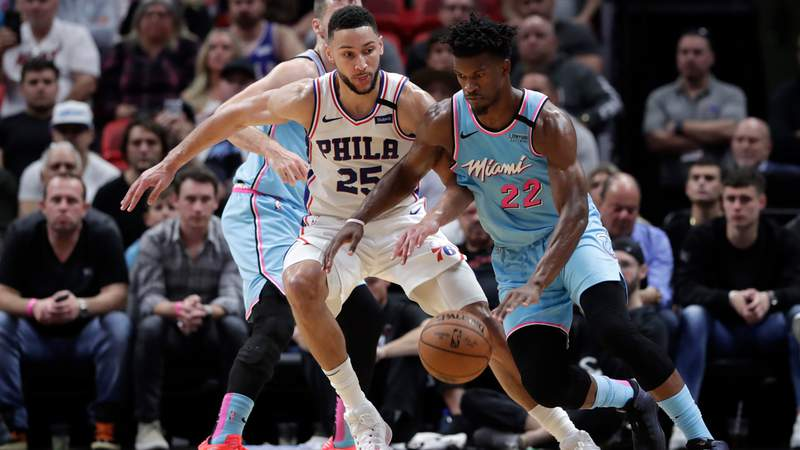 Miami Heat forward Jimmy Butler drives to the basket on Monday, Feb. 3, 2020.
