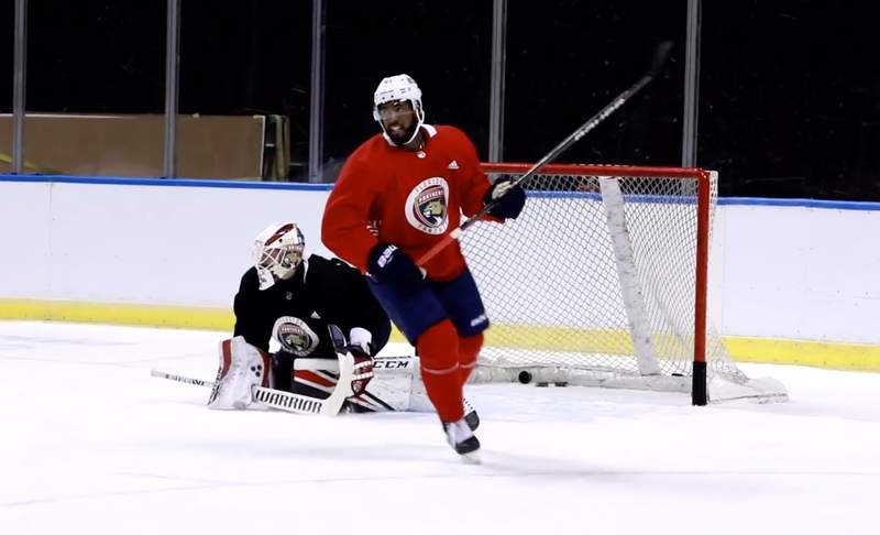 Panthers forward Anthony Duclair skates on the first day of training camp at the BB&T Center.