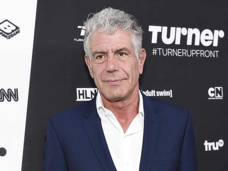 """FILE - Anthony Bourdain attends the Turner Network 2016 Upfronts in New York on May 18, 2016. A documentary about Bourdain, """"Roadrunner: A Film About Anthony Bourdain,"""" will have its world premiere at the Tribeca Film Festival on Friday, June 11, 2021.  (Photo by Evan Agostini/Invision/AP, File)"""