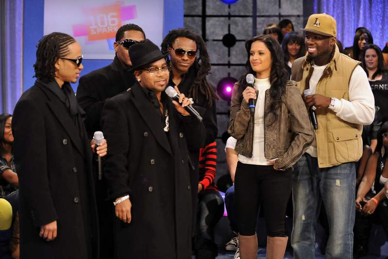"""The rap group Pretty Ricky appears on BET's """"106 & Park"""" in this file photo. Member Diamond Blue Smith has been accused of defrauding a federal COVID-19 relief program."""