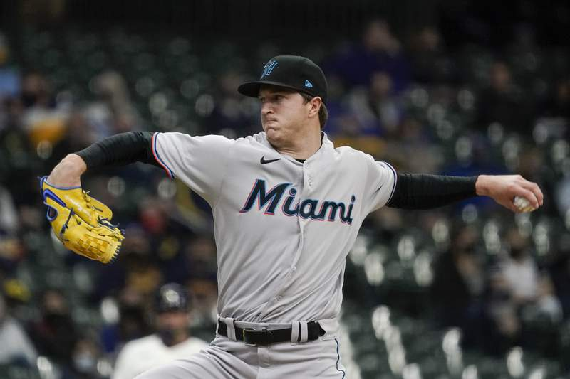 Miami Marlins starting pitcher Trevor Rogers throws during the first inning of a baseball game against the Milwaukee Brewers Monday, April 26, 2021, in Milwaukee. (AP Photo/Morry Gash)