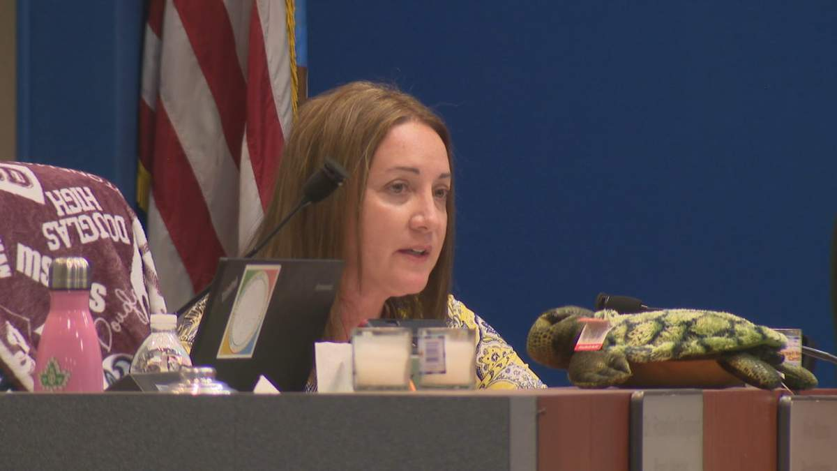 Lori Alhadeff speaks at the Feb. 5 Broward County School Board meeting.