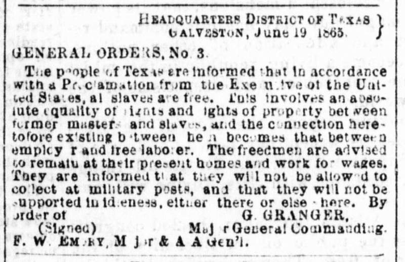 General Oder, No. 3 clipping from June 19, 1865