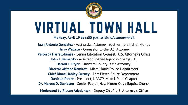 Information on a virtual town hall hosted by the U.S. Attorney's Office for the Southern District of Florida.