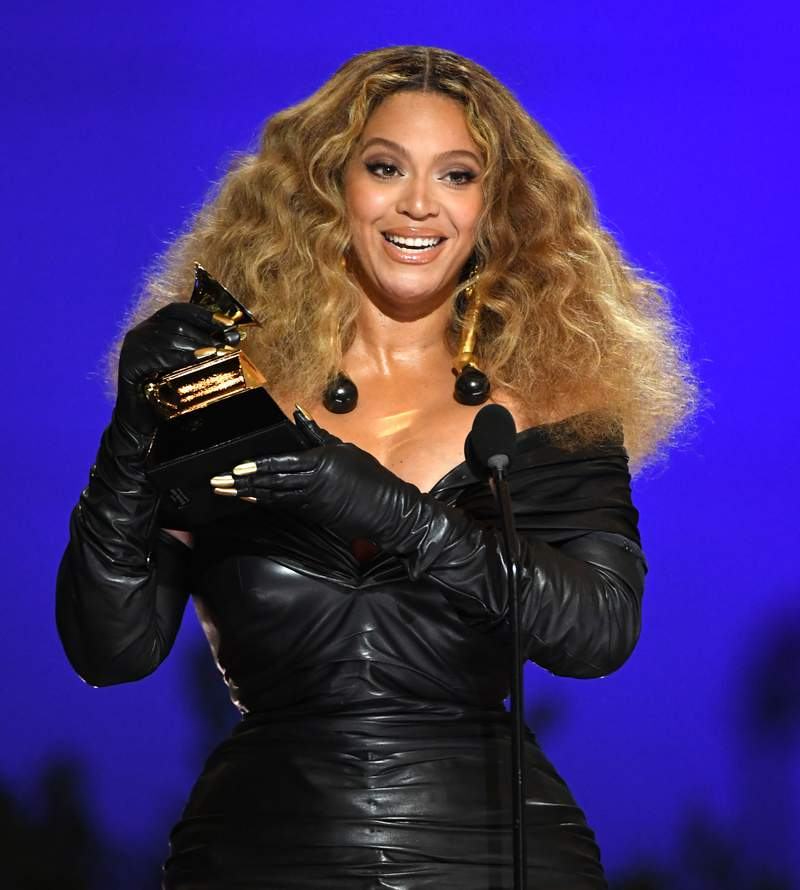 Beyoncé accepts the Best R&B Performance award for 'Black Parade' onstage during the 63rd Annual GRAMMY Awards at Los Angeles Convention Center on March 14, 2021 in Los Angeles, California. (Photo by Kevin Winter/Getty Images for The Recording Academy)