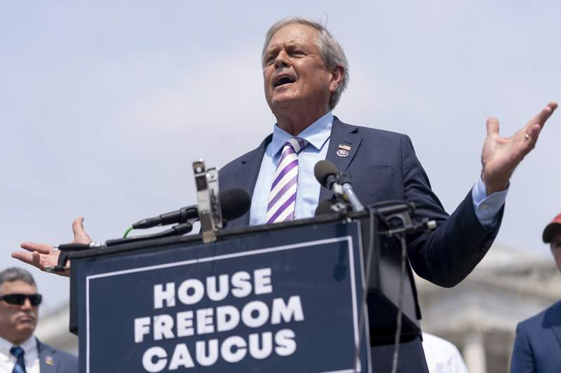Rep. Ralph Norman, R-S.C., speaks at a news conference held by members of the House Freedom Caucus on Capitol Hill in Washington, Thursday, July 29, 2021, to complain about Speaker of the House Nancy Pelosi, D-Calif. and masking policies. (AP Photo/Andrew Harnik)