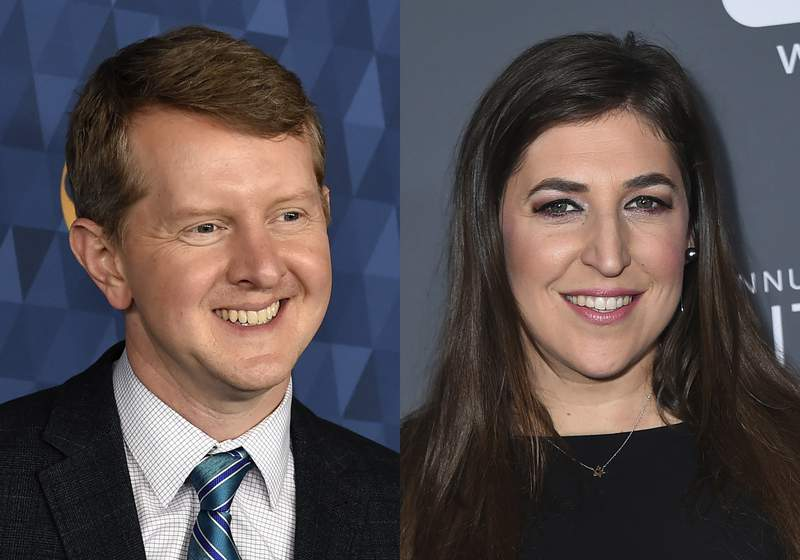 Ken Jennings appears at the 2020 ABC Television Critics Association Winter Press Tour in Pasadena, Calif., on  Jan. 8, 2020, left, and actress Mayim Bialik appears at the 23rd annual Critics' Choice Awards in Santa Monica, Calif., on Jan. 11, 2018. Jennings and Bialik will split Jeopardy! hosting duties for the remainder of the game shows 38th season. (AP Photo)