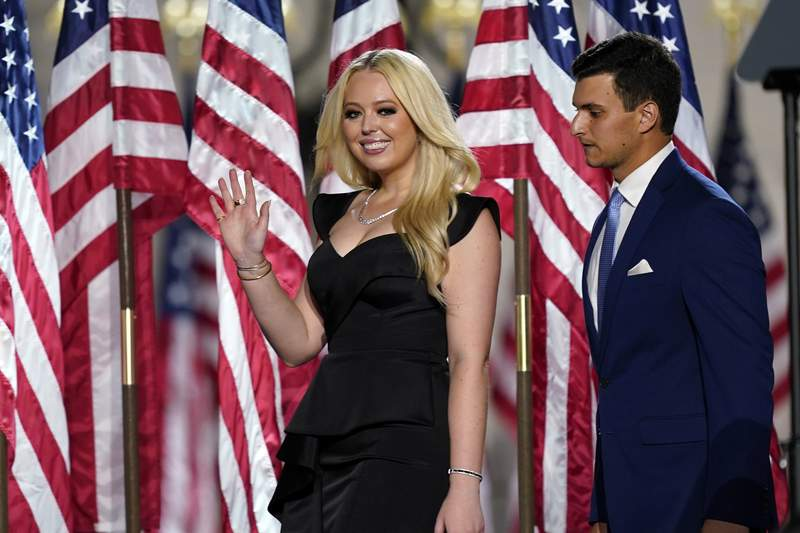 Tiffany Trump and her boyfriend Michael Boulos arrive before President Donald Trump speaks from the South Lawn of the White House on the fourth day of the Republican National Convention, Thursday, Aug. 27, 2020, in Washington. (AP Photo/Evan Vucci)