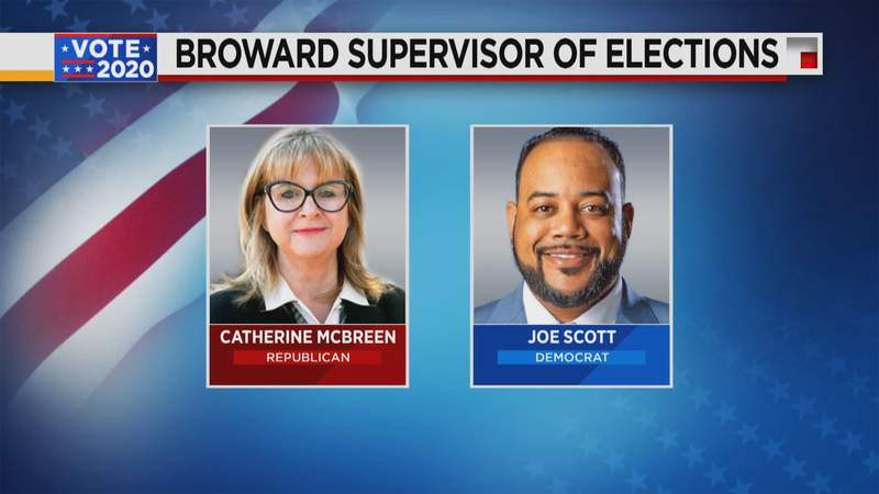 Republican Catherine McBreen and Democrat Joe Scott are running to oversee elections in Broward County.