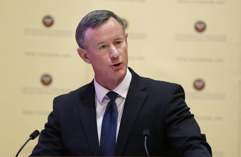 FILE - In this Aug. 21, 2014, file photo, William McRaven addresses the Texas Board of Regents in Austin, Texas.  McRaven, the retired U.S. Navy admiral who directed the raid that killed Osama bin Laden, is continuing his career as an author. McRaven is adapting his best-selling Make Your Bed: Little Things That Can Change Your Life ... And Maybe the World for younger audiences. Little, Brown Books for Young Readers announced Monday that McRaven's Make Your Bed With Skipper the Seal will come out Oct. 12. (AP Photo/Eric Gay, File)