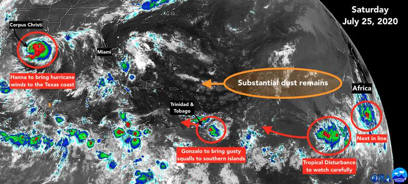 Atlantic satellite image for July 25th showing multiple tropical disturbances.