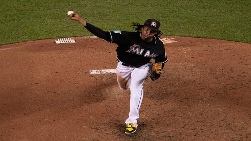 MIAMI, FL - AUGUST 10: Jose Urena #62 of the Miami Marlins throws a pitch in the sixth inning against the New York Mets at Marlins Park on August 10, 2018 in Miami, Florida. (Photo by Mark Brown/Getty Images)