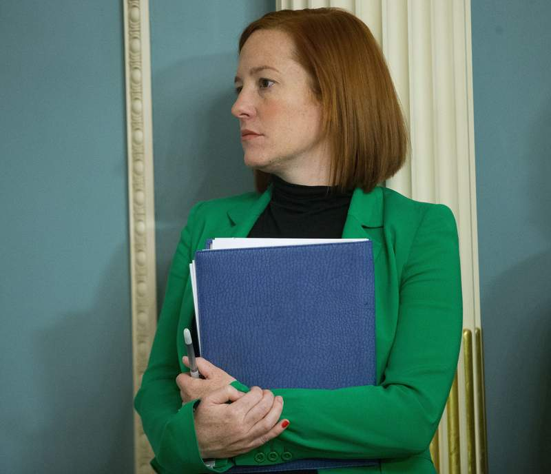 State Department spokeswoman Jen Psaki stands in on a meeting in Washington, Friday, Feb. 27, 2015. President-elect Joe Biden will have an all-female communications team at his White House, led by campaign communications director Kate Bedingfield. Jen Psaki will be his press secretary. (AP Photo/Pablo Martinez Monsivais)