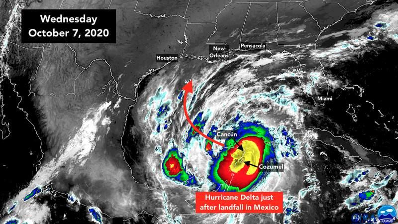 Satellite shows Hurricane Delta on Wednesday, Oct. 7.