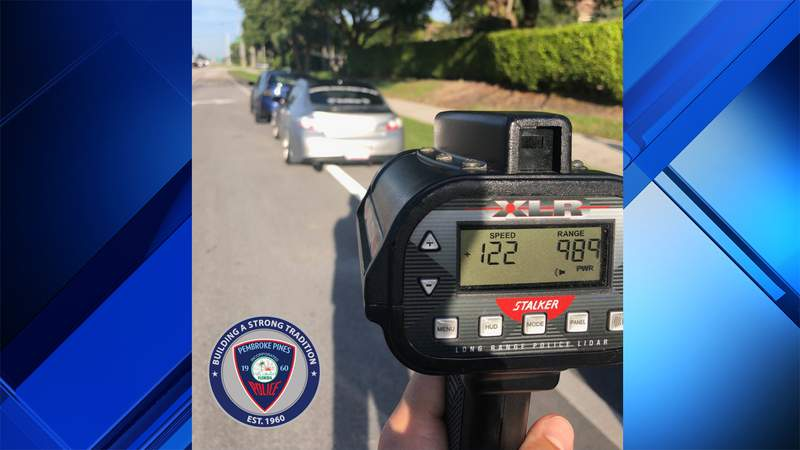 Pembroke Pines Police caught a driver going 122 mph in a 45 mph zone on Pines Boulevard.
