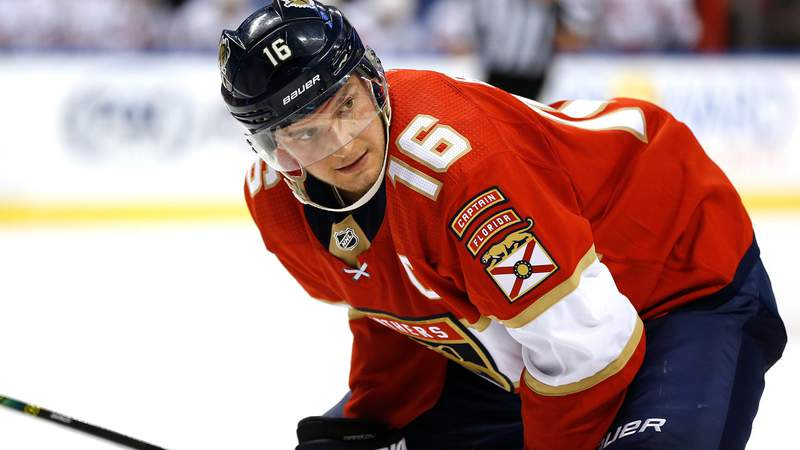 Aleksander Barkov of the Florida Panthers prepares for a face-off against the Carolina Hurricanes on October 08, 2019.