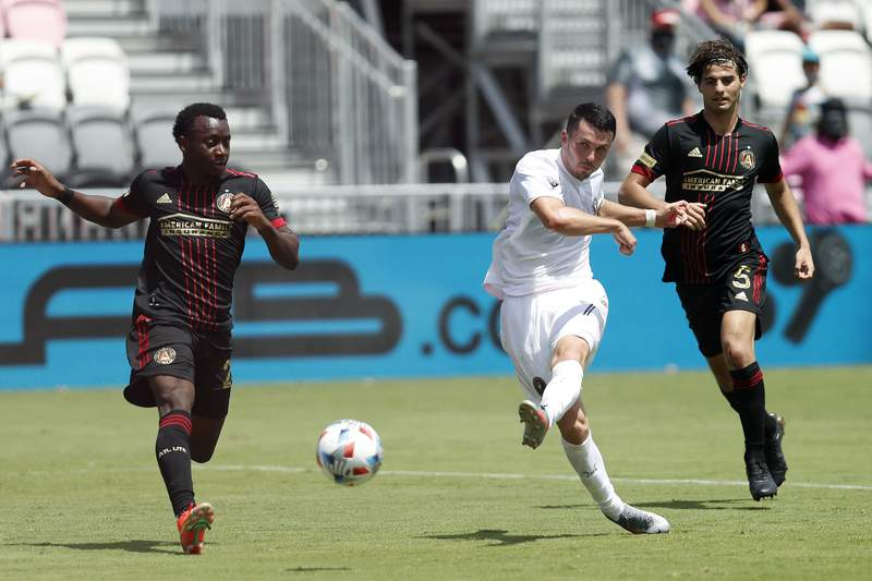 Lewis Morgan of Inter Miami CF scores a goal in the 77' against Atlanta United during the second half at DRV PNK Stadium on May 09, 2021 in Fort Lauderdale, Florida.