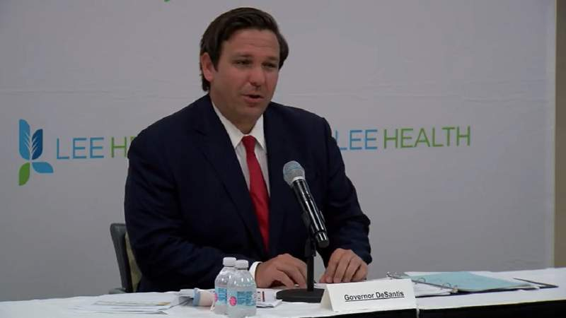 Gov. Ron DeSantis speaks at COVID-19 press briefing on May 11 in Fort Myers.