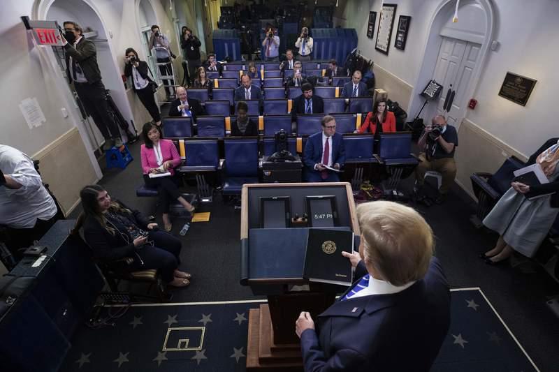 President Donald Trump arrives to speak about the coronavirus in the James Brady Press Briefing Room of the White House, Thursday, April 23, 2020, in Washington. (AP Photo/Alex Brandon)