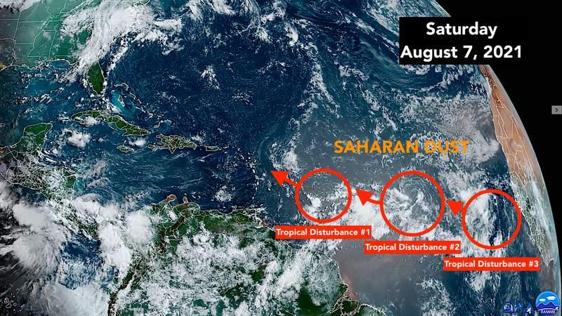 Satellite imaging of tropical Atlantic.