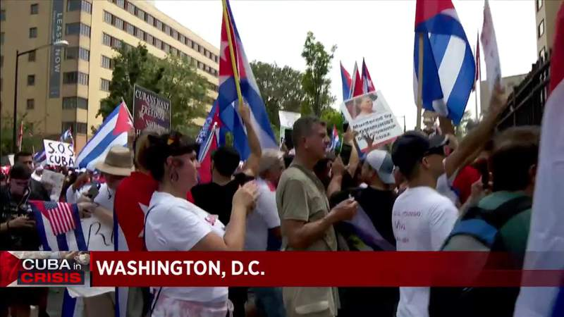 Thousands march in support of SOS Cuba in Washington