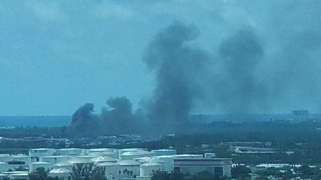 A truck was on fire on Tuesday at Port Everglades. Courtesy of Joe S. Slotnick