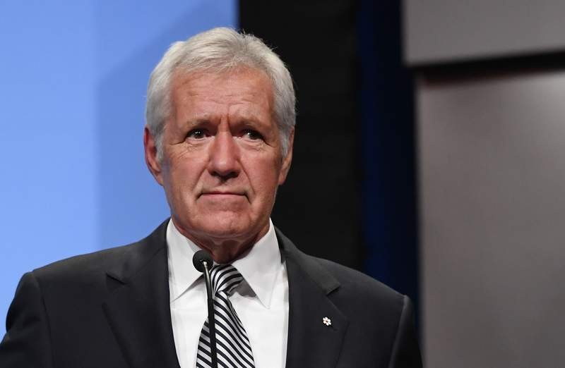 """""""Jeopardy!"""" host Alex Trebek speaks as he is inducted into the National Association of Broadcasters Broadcasting Hall of Fame on April 9, 2018 in Las Vegas."""
