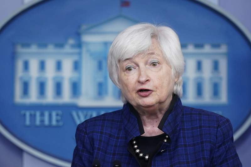 FILE - In this Friday, May 7, 2021 file photo, U.S. Treasury Secretary Janet Yellen speaks during a press briefing at the White House in Washington. Top regulators pledged Friday, June 11, 2021 to push reforms in a key corner of U.S. financial markets that the Federal Reserve and Treasury had to rush to support after it was roiled during the coronavirus outbreak in the spring of 2020.he oversight council is an interagency group headed by Treasury Secretary Janet Yellen, who said the 2020 crisis prompted extreme policy interventions by the Federal Reserve and Treasury to restore order in the market.  (AP Photo/Patrick Semansky, File)