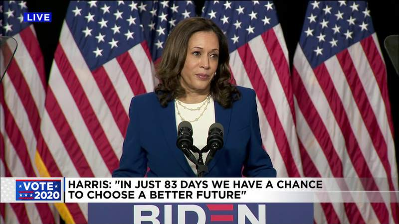 Joe Biden and Kamala Harris delivered their first campaign speech together Wednesday in Delaware.