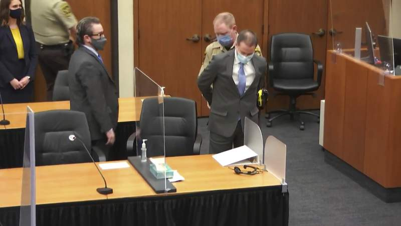 In this image from video, former Minneapolis police Officer Derek Chauvin is taken into custody as his attorney, Eric Nelson, left, looks on, after the verdicts were read at Chauvin's trial for the 2020 death of George Floyd, Tuesday, April 20, 2021, at the Hennepin County Courthouse in Minneapolis, Minn. (Court TV via AP, Pool)